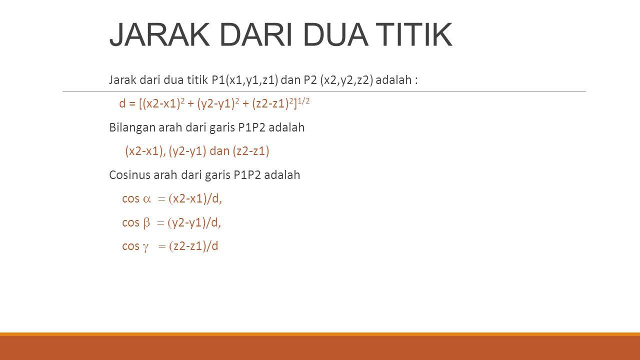 JARAK DARI DUA TITIK Jarak dari dua titik P1(x1,y1,z1) dan P2 (x2,y2,z2) adalah : d = [(x2-x1)2 + (y2-y1)2 + (z2-z1)2]1/2.